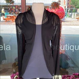 Black Flutter Sleeve Shawl
